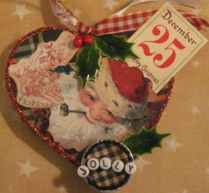 Jolly Holly Santa ornament by Yapping Cat