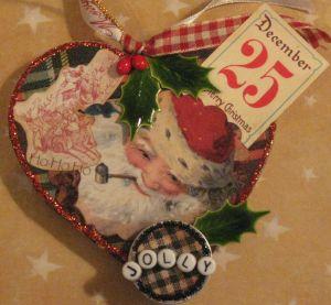 Jolly Holly Santa ornament by Yapping Cat