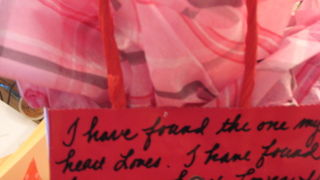 repeated text on a gift bag for Valentines