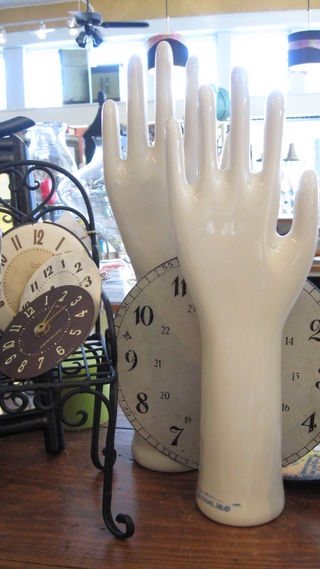 Ceramic glove molds and vintage clock faces