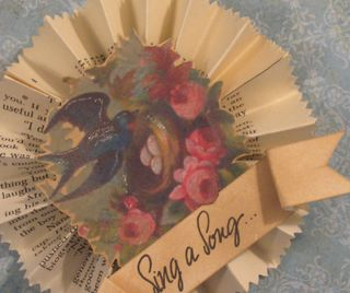 Sing a Song Paper ornament with Bluebird and Roses by Yapping Cat Studio