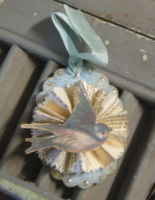 Tiny medallion tag with bluebird