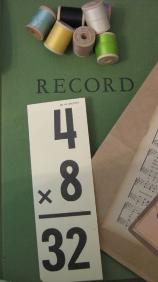 Vintage Record Book, flash card, spools of thread