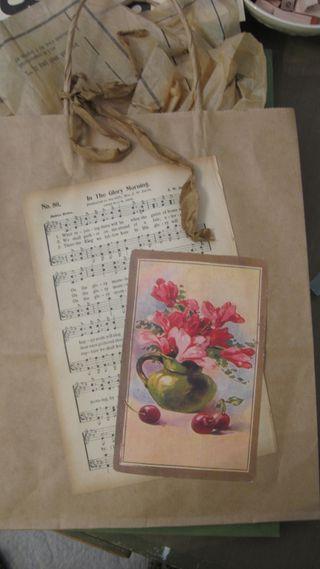 "Altered Art Gift Bag...ain't it cute? Love the ""tissue""."