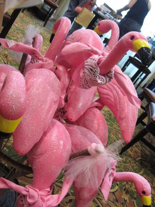 Jan's booth included flamingo, frolicking and frilly!