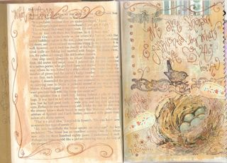 Napkin transfer journal page by Yapping Cat Studio.