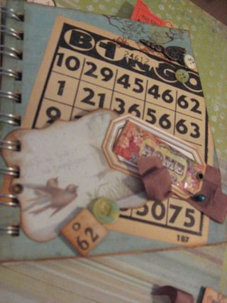 A weird pocket of sorts, with a vintage Bingo card and playing piece.