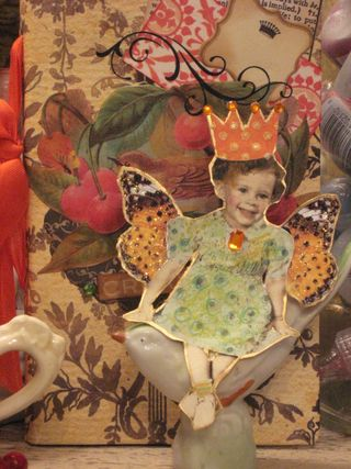 Orange slice Fairy atop a wee birdie! by Yapping Cat Studio