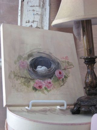 Hand-painted nest canvas by Yapping Cat Studio.