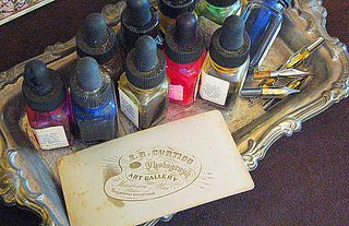 I've started collectiong old ink bottles. And I love the back of cabinet cards, so beautiful.