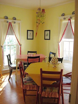The aptly named Storybook room, in reds and yellows and polka dot fun!