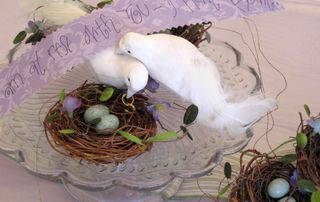 """I tucked birds, nest and quotes about """"home"""" here and there in the little cottage."""