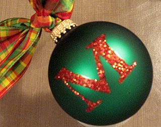 Monogrammed Christmas Ornament by Yapping Cat Designs.