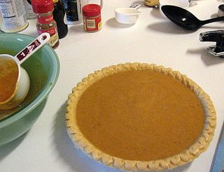 One of Sweet Hub's homemade pumpkin pies, fixin to go into the newly repaired oven!