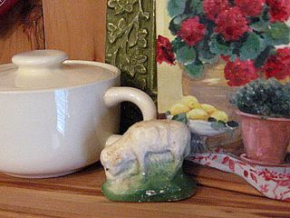vintage sugar bowl, chalkware sheep and painting by Mary Kay Crowley