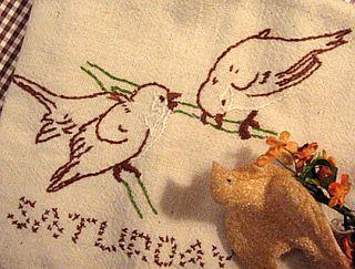 sweet little birdie tea towel