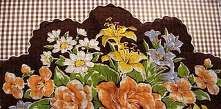 round brown and floral hankie with scalloped edges