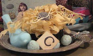 Sweet paper nest, vintage glass blue bird, silver vintage tray