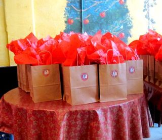 Goodie Bags! Over 70 filled the tables at The Doves Nest.