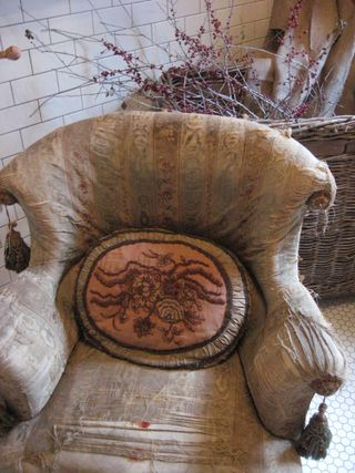 Chair in the bathroom at Patina Green!